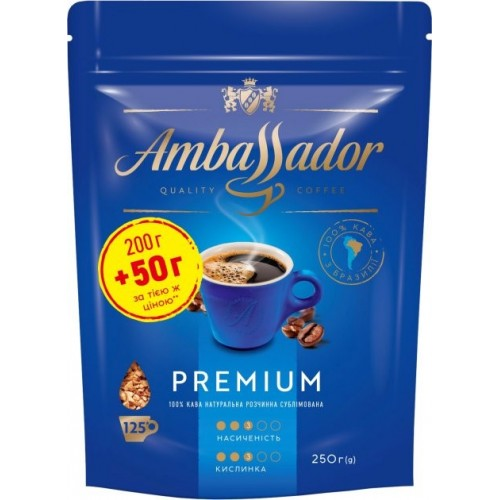 Кава розчинна сублімована «Premium», 200+50 г ТМ «Ambassador»