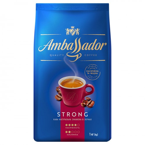 Кава натуральна смажена в зернах «Strong», 1 кг ТМ «Ambassador»