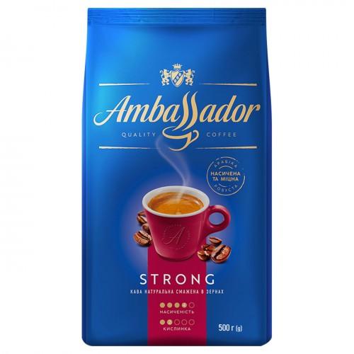 Кава натуральна смажена в зернах «Strong», 500г ТМ «Ambassador»