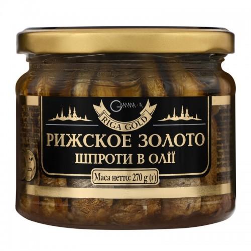 """Шпроти в олії скло """"Ризьке золото"""", 270 г"""