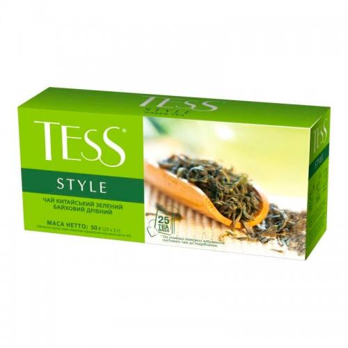 Чай китайський зелений байховий дрібний у пакетиках для разової заварки «Style», ТМ «Tess»