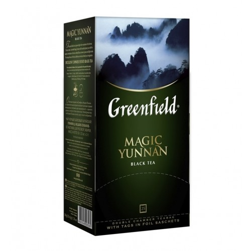 Чай китайський чорний байховий дрібний у пакетиках для разової заварки «Magic Yunnan», 50 г ТМ «Greenfield»