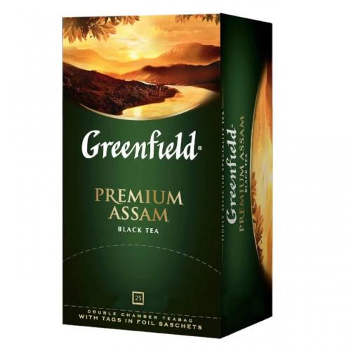Чай індійський чорний байховий дрібний у пакетиках для разової заварки «Premium Assam», 50 г ТМ «Greenfield»