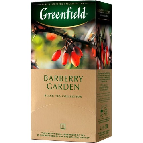 Чай кенійський чорный байховий дрібний з ягодами барбарису в пакетиках для разової заварки «Barberry Garden», 37.5 г ТМ «Greenfield»