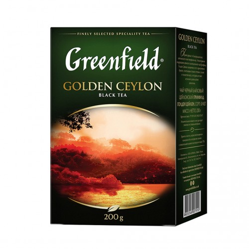 Чай цейлонський чорний байховий листовий «Golden Ceylon», 200 г ТМ «Greenfield»