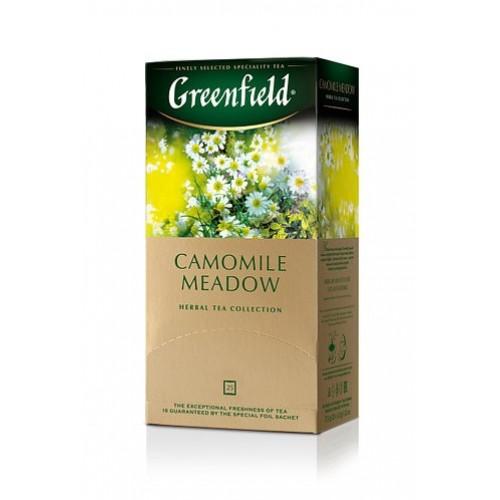Чай трав'яний дрібний з ароматом лічі у пакетиках для разової заварки «Camomile Meadow», 37,5 г ТМ «Greenfield»