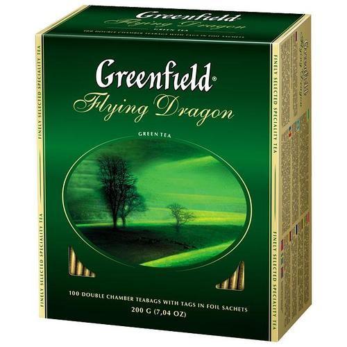 Чай китайський зелений байховий дрібний в пакетиках «Flying Dragon», 200 г ТМ «Greenfield»