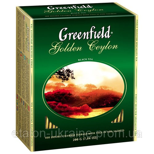 Чай цейлонський чорний байховий дрібний у пакетиках для разової заварки «Golden Ceylon», 200 г ТМ «Greenfield»