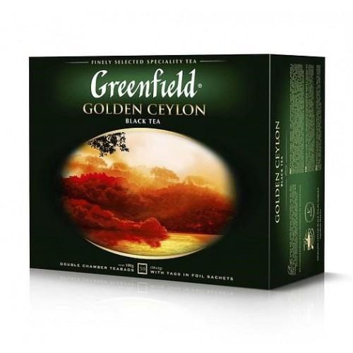 Чай цейлонський чорний байховий дрібний у пакетиках для разової заварки «Golden Ceylon», 100 г ТМ «Greenfield»