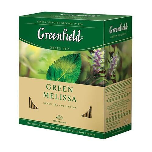 Чай китайський зелений байховий дрібний у пакетиках для разової заварки «Green Melissa», 150 г ТМ «Greenfield»
