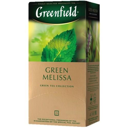 Чай китайский зеленый байховый мелкий в пакетиках для разовой заварки «Green Melissa», 37,5 г ТМ «Greenfield»