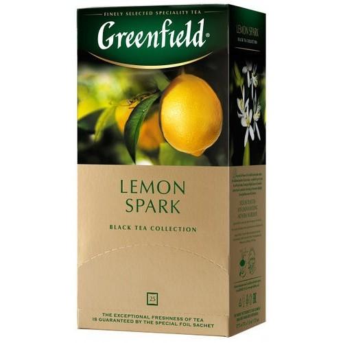 Чай індійський чорний байховий дрібний з ароматом лимону у пакетиках для разової заварки «Lemon Spark», 37,5 г ТМ «Greenfield»