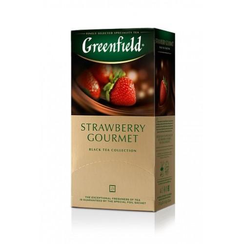 Чай кенійський чорный байховий дрібний зі смаком полуниці в пакетиках для разової заварки «Strawberry Gourmet», 37.5 г ТМ «Greenfield»