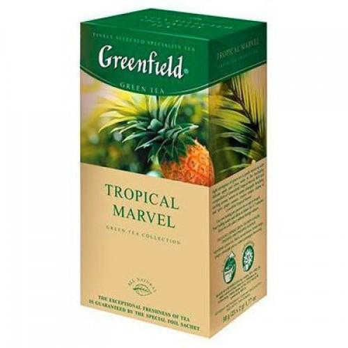 Чай китайський зелений байховий дрібний з ібиром та ананасом в пакетиках «Tropical Marvel», 50 г ТМ «Greenfield»