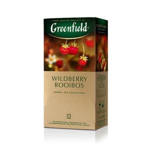Чай трав'яний дрібний з шматочками суниці, журавлини та ароматом журавлини у пакетиках «Wildberry Rooibos», 37,5 г ТМ «Greenfield»