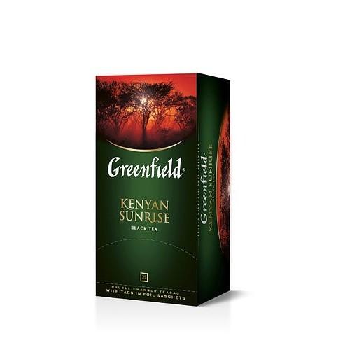 Чай кенійський чорний байховий дрібний у пакетиках для разової заварки «Kenyan Sunrise» 50 г ТМ «Greenfield»