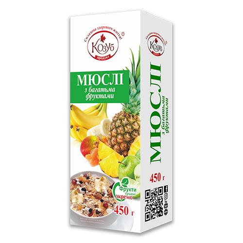 Мюслі «З багатьма фруктами» миттєвого приготування