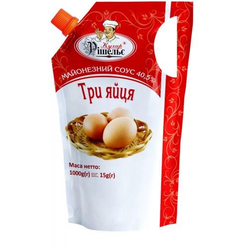 """Майонезний соус """"Три яйця"""" 40,5% 1000 г «Кухар Рішельє»"""