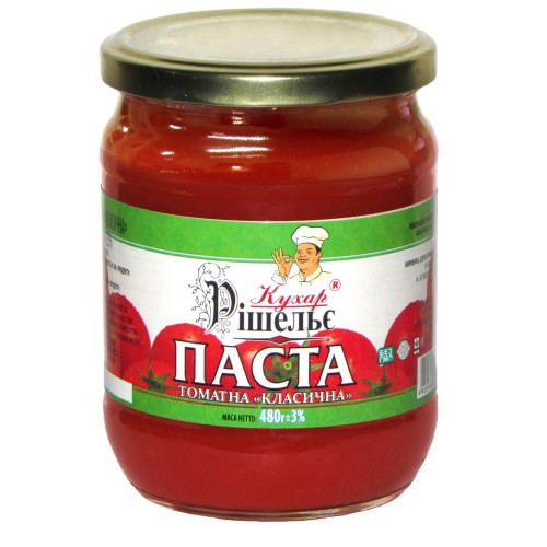 "Томатна паста ""Класична"" 25% 480 г «Кухар Рішельє»"