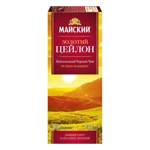 """Чай Майський  """"Золотий Цейлон""""  25 пакетиків 50 г (25*2г)"""