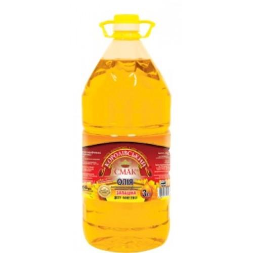 """Олія соняшникова нерафінована """"Запашна"""" 3,0л """"Королівський смак"""""""