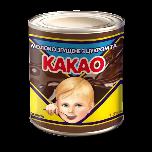 """Молоко незбиране згущене з цукром та какао 7,5% жиру 370 г ТМ """"Первомайський МКК"""""""