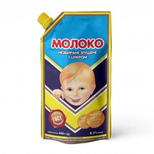 """Молоко незбиране згущене з цукром 8,5% жиру 440 г ТМ """"Первомайський МКК"""""""
