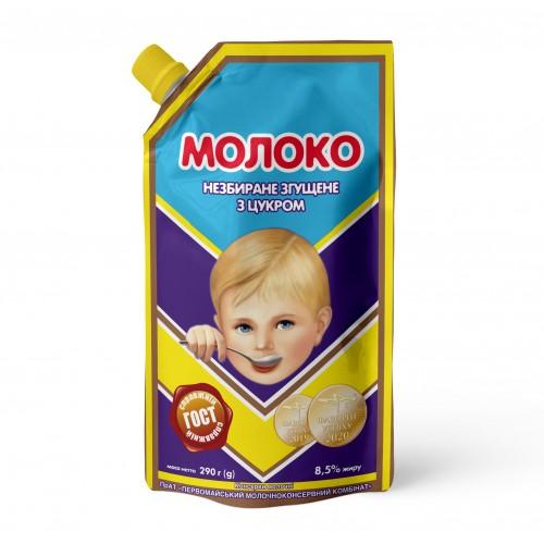 """Молоко незбиране згущене з цукром 8,5% жиру 290 г ТМ """"Первомайський МКК"""""""