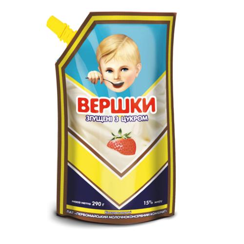 """Вершки згущені з цукром 15% жиру 290 г ТМ """"Первомайський МКК"""""""