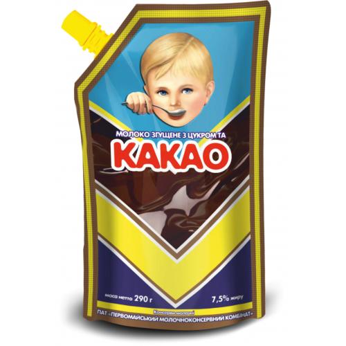 """Молоко незбиране згущене з цукром та какао 7,5% жиру 290 г ТМ """"Первомайський МКК"""""""