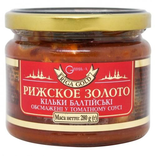 """Кільки балтійські обсмажені у томатному соусі скло """"Ризьке золото"""", 280 г"""