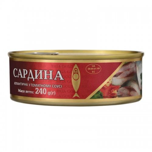 """Сардина атлантична у томатному соусі ж/б з ключом """"Ризьке золото"""", 240 г"""
