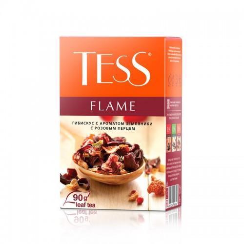 Чай трав'яний із пелюсток суданської троянди, цедри апельсина, полуниці та з ароматом полуниці і рожевого перцю «Flame», 90 г ТМ «Tess»