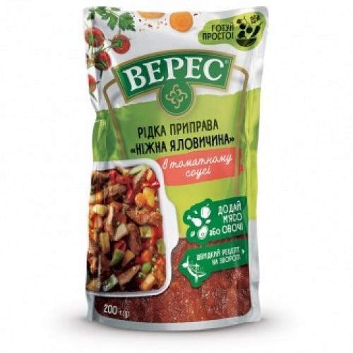 """Рідка приправа """"Ніжна яловичина в томатному соусі"""" 200 г «Верес»"""