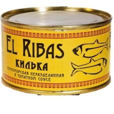 Кілька черноморська нерозібрана у томатному соусі, El Ribas, 240 г