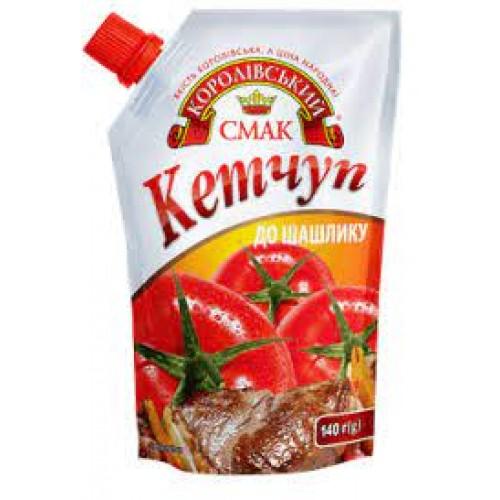 """Кетчуп """"До шашлику"""" дой-пак зі штуцером 140 г «Королівський смак»"""