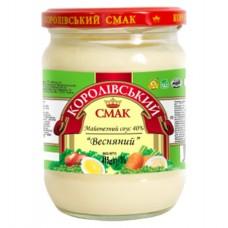 """Майонез 40%  соус """"Весняний"""" 415 г с/б «Королівський смак»"""