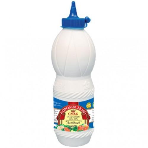 """Майонез 30%  соус """"Лагідний"""" 850 г пляшка «Королівський смак»"""