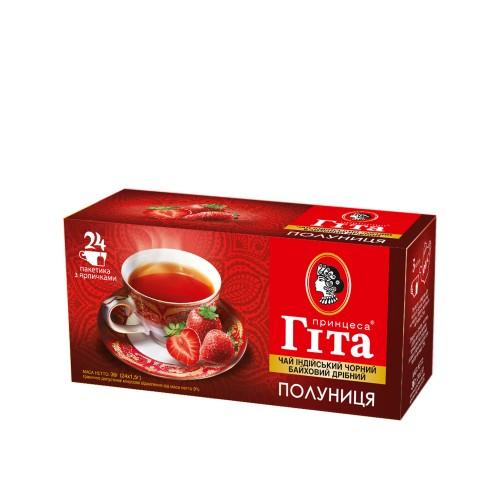 Чай індійський чорний байховий дрібний з ароматом полуниці у пакетиках, 36 г ТМ «Принцеса ГІТА»