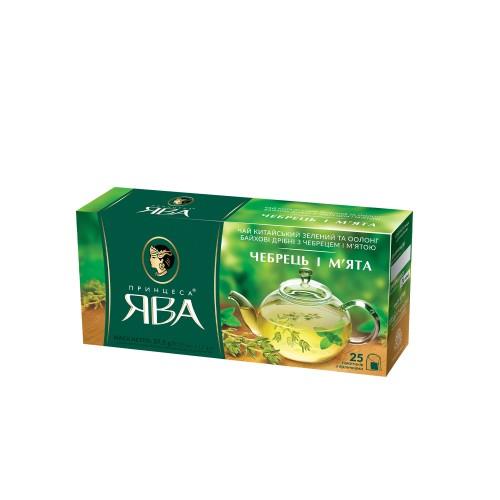 Чай китайський зелений та оолонг байхові дрібні з чебрецем та м'ятою у пакетиках, «Чебрець і м'ята» 37,5 г ТМ «Принцеса ЯВА»
