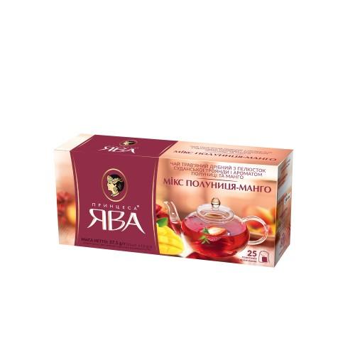 Чай трав'яний з пелюстків суданської троянди з ароматом полуниці та манго, «Мікс полуниця-манго» 37,5 г ТМ «Принцеса ЯВА»