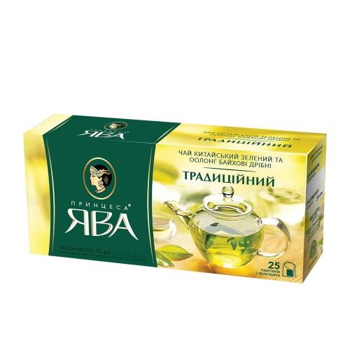Чай китайський зелений та оолонг байхові дрібні у пакетиках, «Традиційний» 45 г ТМ «Принцеса ЯВА»